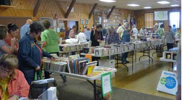 visitors browsing at through the books