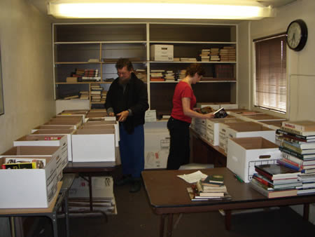 sorting books at the book storage facility